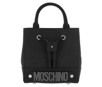 Bucket Bag Coated Leather Black Tasche