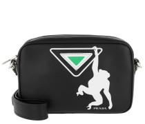Umhängetasche Logo Print Shoulder Bag Leather Black/Green schwarz