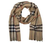 Metallic Check Scarf Camel Schal gold