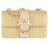 Mini Love Pailletes Leather Shoulder Bag Oro Satchel Bag