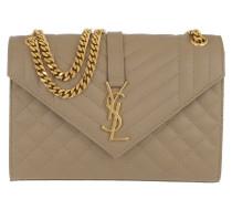 Envelope Shoulder Bag Quilted Leather Dark /Gold Satchel Bag