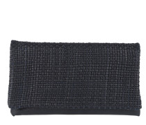 Mini Eleonor Weave Leather Fold Over Clutch Navy Clutch