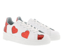Sneaker Big Red Hearts White Sneakers