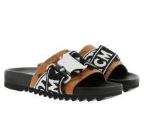 Schuhe W Webbing Trim Visetos Slide Cognac schwarz