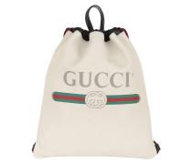 Gucci Print Leather Drawstring Backpack White Rucksack