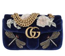 GG Marmont Velvet Mini Bag Cobalt Blue Tasche