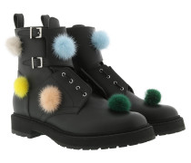 Pom Pom Boots Leather Black Schuhe