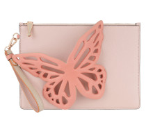 Leather Pouchette 3D Butterfly Antique Rose Clutch