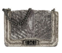 Chevron Quilted Small Love Handbag Grey