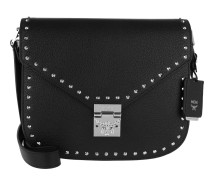Patricia Studded Outline Park Avenue Medium Shoulder Bag Black
