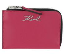 Portemonnaie Signature Zip Card Holder Fuchsia
