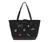 Quilted Shopping Bag Satin Black Shopper