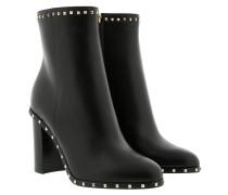 Platform Plain Toe Ankle Boot Leather Black Schuhe