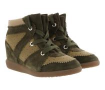 Wedge Sneakers Calf Suede Khaki Sneakers