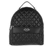 Quilted Backpack Black/Silver Rucksack