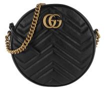 Umhängetasche GG Marmont Mini Round Shoulder Bag Leather Black schwarz
