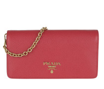 Logo Wallet On Chain Saffiano Leather Peonia Tasche