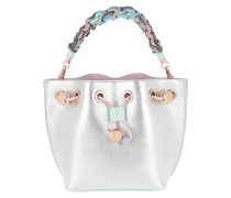 Drawstring Bag Butterfly On Strap Silver/Pastel