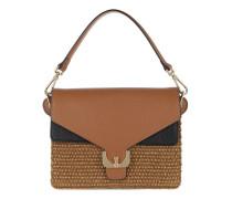 Ambrine Natural Straw Shoulder Bag Cuir/Noir/Natur Tasche