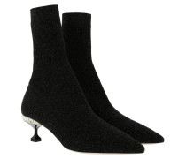 Metallic Sock Ankle Boots NERO Schuhe