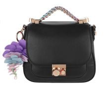 Leather Shoulder Bag Adjustable Strap Black Tasche