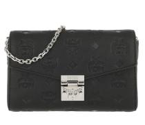 Umhängetasche Millie Monogrammed Leather Crossbody Small Black schwarz