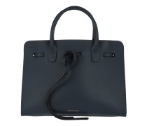 Tie Fastening Tote Leather Blue/Blue Tote