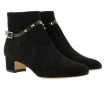 Rockstud Ankle Boots Suede Black Schuhe