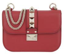 Rockstud Lock Shoulder Bag Small Rosso Tasche
