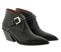 Boots Cowboy Studded Ankle Leather Black
