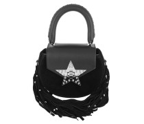 Mimi Fringe Bling Star Small Tote Bag Black