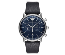 Uhr Mens Dress Watch Silver/Blue schwarz