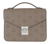 Patricia Embossed Leather Satchel Bag Medium Urban Taupe Satchel Bag