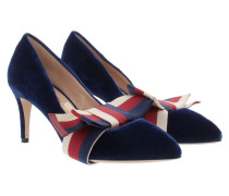 Pumps Velvet With Bow Blue