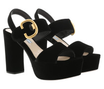 Gold Buckle Sandals Velvet Black Schuhe