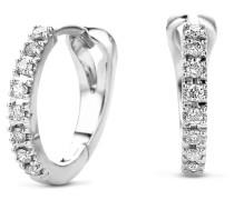 Ohrringe 0.11ct Diamond Creole Earring 14KT White Gold