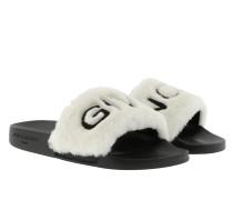 Sandalen Logoed Shearling Slide Sandals Black/White schwarz