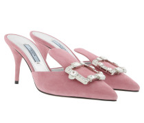 Crystal Buckle Mules Leather Loto Pumps