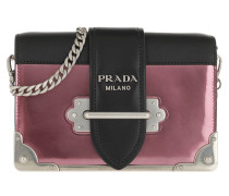 Umhängetasche Cahier Shoulder Bag Metallic Leather Ibisco/Nero rosa
