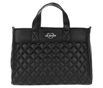 Quilted Shopping Bag Black/Silver Tote