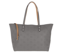 Shopper Klara Monogrammed Leather Medium Charcoal