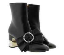 Ankle Boot With Removable Leather Bow Leather Black Schuhe