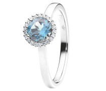 Ring Espressivo Topas Sky Blue Faceted White Gold
