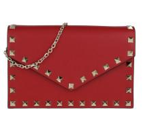 Rockstud Envelope Shoulder Bag Leather Rosso Tasche