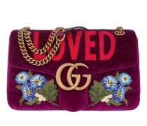 GG Marmont Bag Velvet Fuchsia Satchel Bag