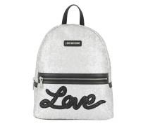 Backpack Love Sequins Metallic Argento Rucksack