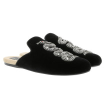 Evening Slipper With Snake Velvet Black Schuhe