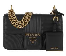 1de2787e6ecab Umhängetasche Diagramme Crossbody Bag Leather Black Gold schwarz. Prada