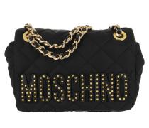 Quilted Logo Studs Shoulder Bag Black Tasche