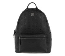 Rucksack Ottomar Monogrammed Leather Backpack Medium Black schwarz